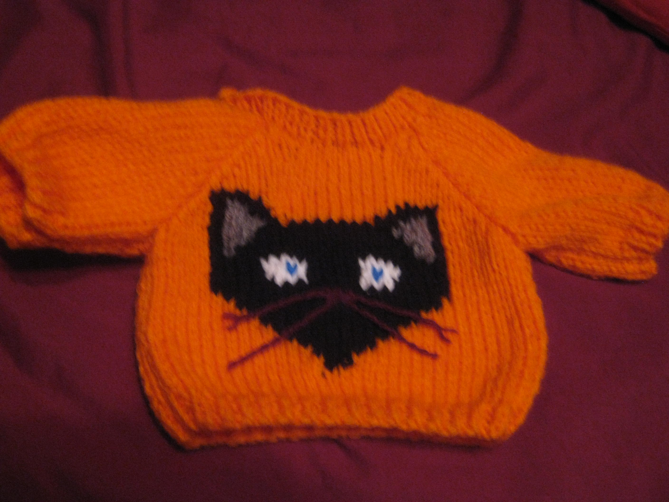 Customized Halloween Jack O Lantern Sweater Handmade for 14 in Build A Bear Cub